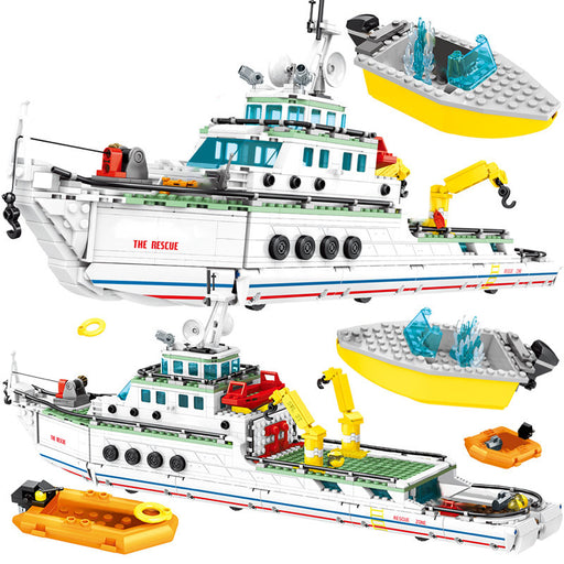 Rescue boats and people in the ocean using this 893 piece LEGO® compatible Emergency Rescue Ship set from Bricklicious with free delivery worldwide