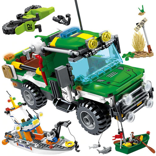 Go deep into the jungle and rivers with the 460 piece LEGO® compatible Jungle Police Rescue Boat and Offroader set from Bricklicious with free delivery worldwide