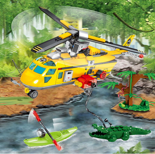 Rescue adventurers from the wilds of the jungle using this 324 piece LEGO® compatible Jungle Police Rescue Helicopter from Bricklicious with free delivery worldwide
