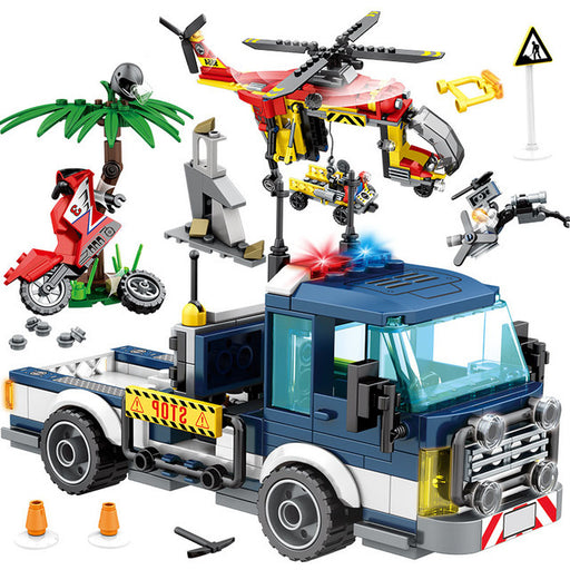 Go deep into the jungle with the 460 piece LEGO® compatible Jungle Police Rescue Truck and Helicopter set from Bricklicious with free delivery worldwide