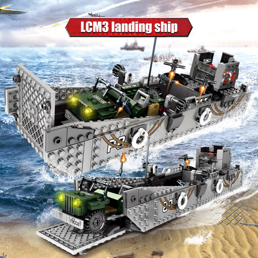 Recreate beach battles with ths 915 piece LEGO® compatible World War II Landing Ship from Bricklicious with free delivery worldwide