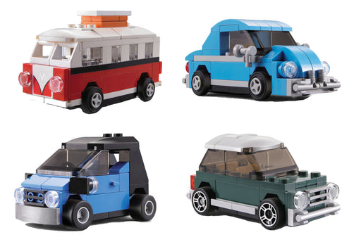 Have fun and race these four LEGO® compatible mini pull back lock cars from Bricklicious with free delivery worldwide