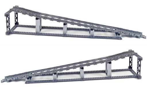 Elevate trains on your layout with this pair of LEGO® compatible Train Elevation Tracks from Bricklicious with free delivery worldwide