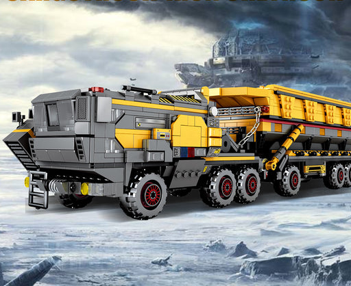 Transport loads of iron ore with the 1535 piece LEGO® compatible Wandering Earth Iron Ore Tractor Trailer set from Bricklicious with free delivery worldwide