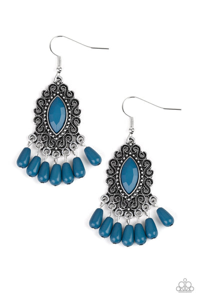 Private Villa Blue Paparazzi Earrings