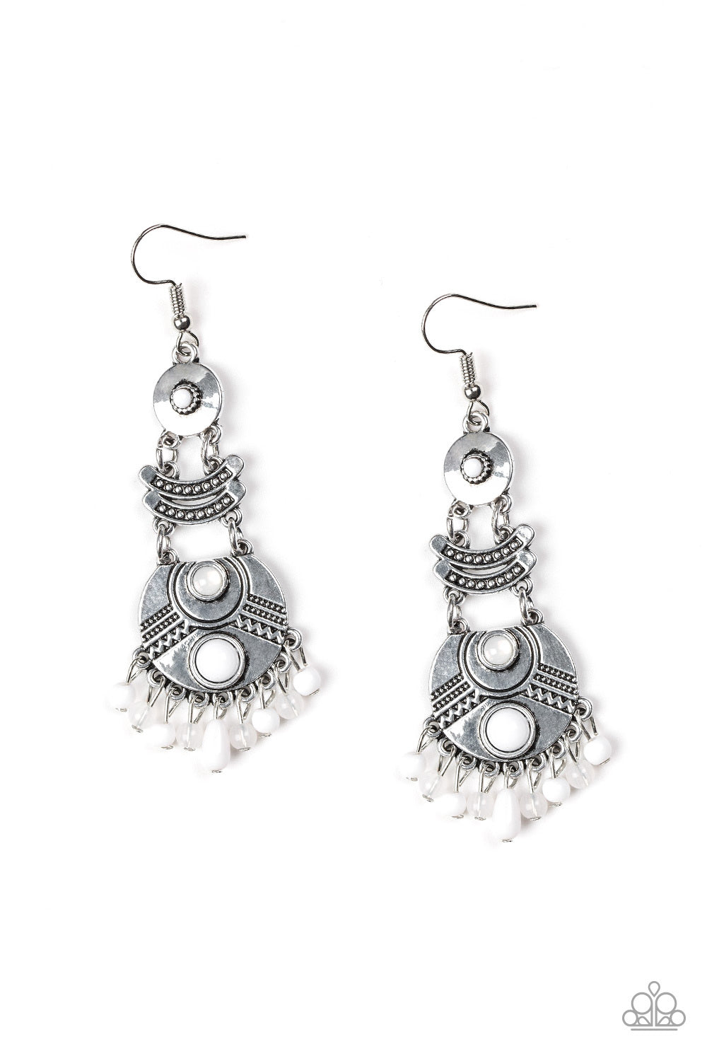 Tropic Tribe White Paparazzi Earrings