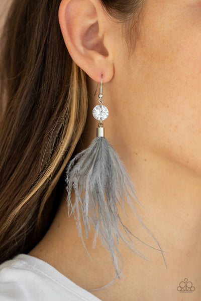 Feathered Flamboyance Silver Paparazzi Accessories Earrings