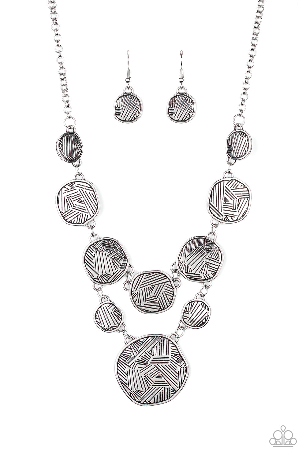 Metallic Patchwork - Silver Necklace