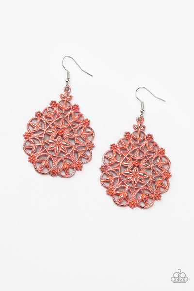 Floral Affair - Orange Earrings
