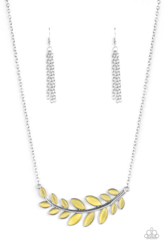 Frosted Foliage Yellow Necklace Paparazzi Accessories