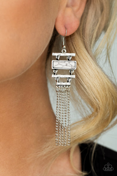 Stone Dwellings White Paparazzi Earrings
