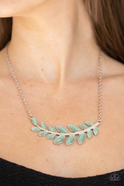 Frosted Foliage Green Necklace Paparazzi Accessories
