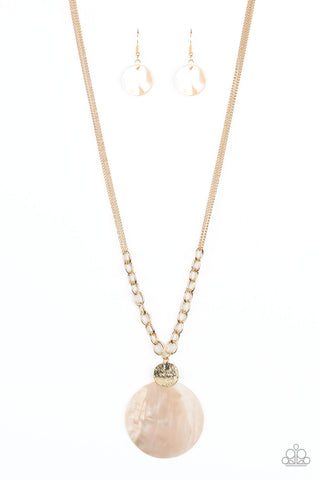 A Top-SHELLer - Gold Paparazzi Accessories Shell Necklace