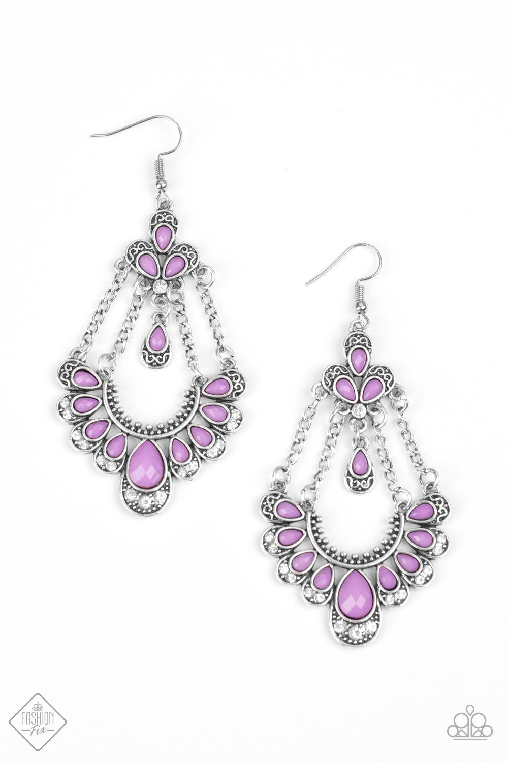 Glimpses of Malibu Unique Chic - Purple Earrings