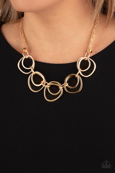 Asymmetrical Adornment - Gold Necklace