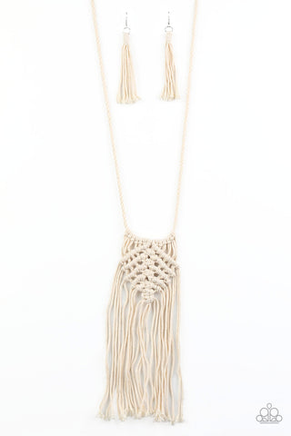Macrame Mantra White Necklace Paparazzi Accessories
