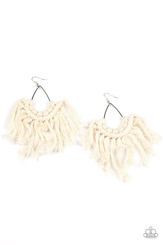 Wanna Piece Of MACRAME? - White Earrings
