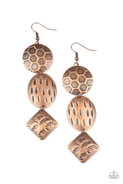 Mixed Movement Copper Paparazzi Earrings