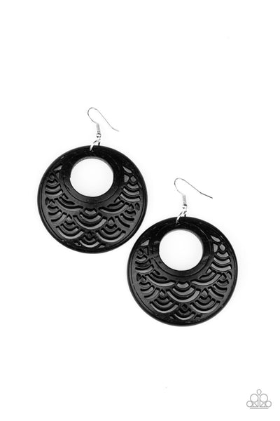 Tropical Canopy Black Paparazzi Earrings