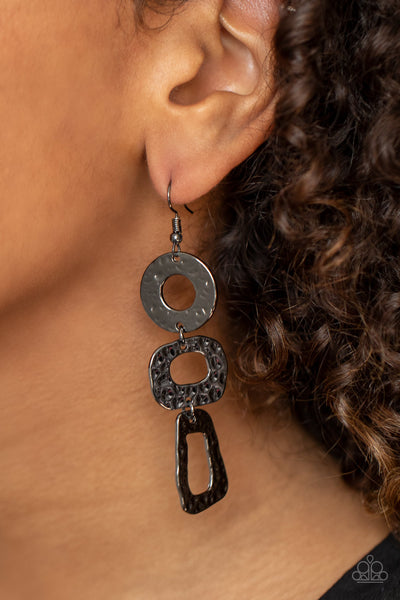 Prehistoric Prowl Black Paparazzi Earrings