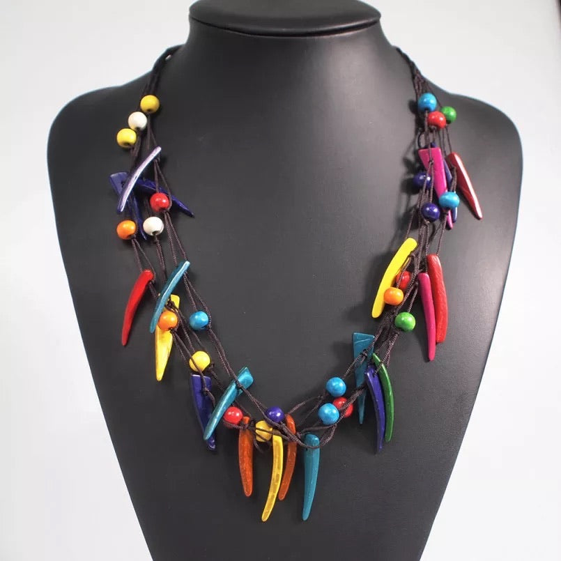 Sabre Tooth - Multi-colored Necklace