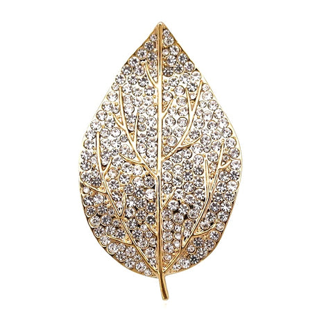 Gold Crystal Leaf Brooch