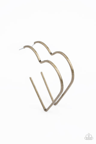 I HEART a Rumor - Brass Earrings