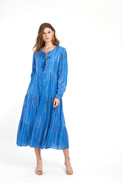 Long Sleeve Maxi- Rio Blue