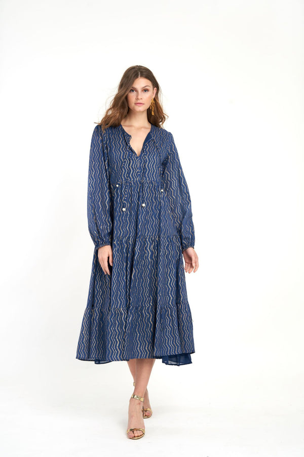 Long Sleeve Maxi- Taj Navy