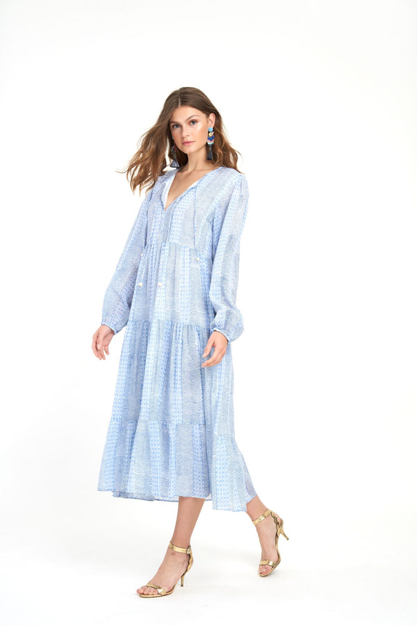 Long Sleeve Maxi- Tulum Blue