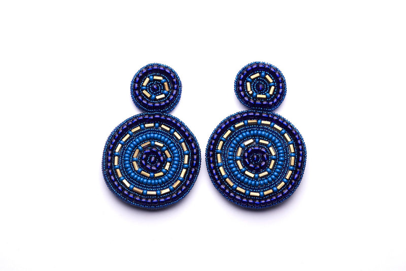 Pegasus Beaded Disc Earrings