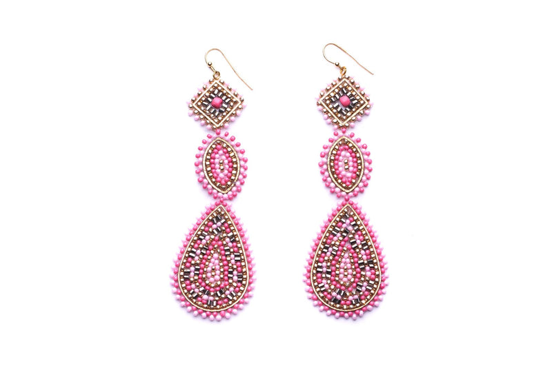 Beaded Triple Drop Earrings