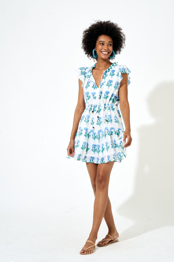Cinched Flirty Dress- Bloom Mini Blue