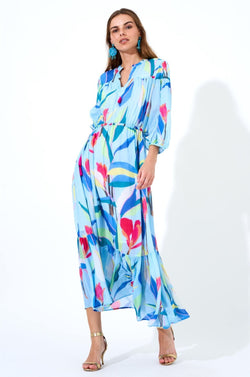 Cinched Waist Maxi Dress- Botanica Blue