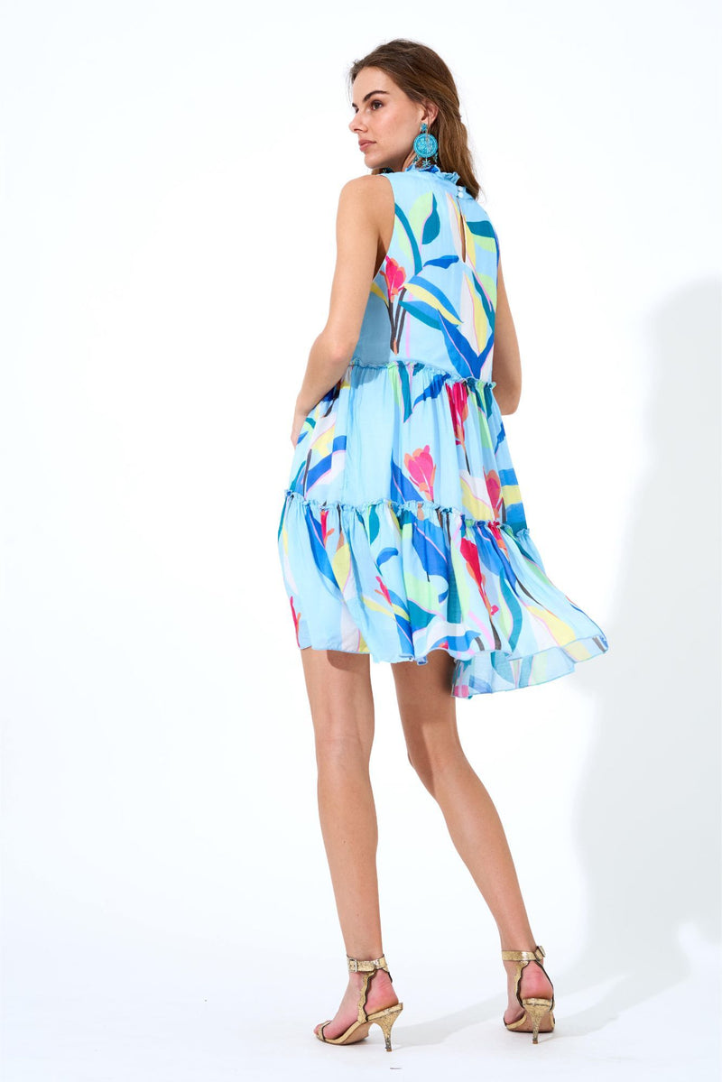 Ruffle Tiered Short Dress- Botanica Blue