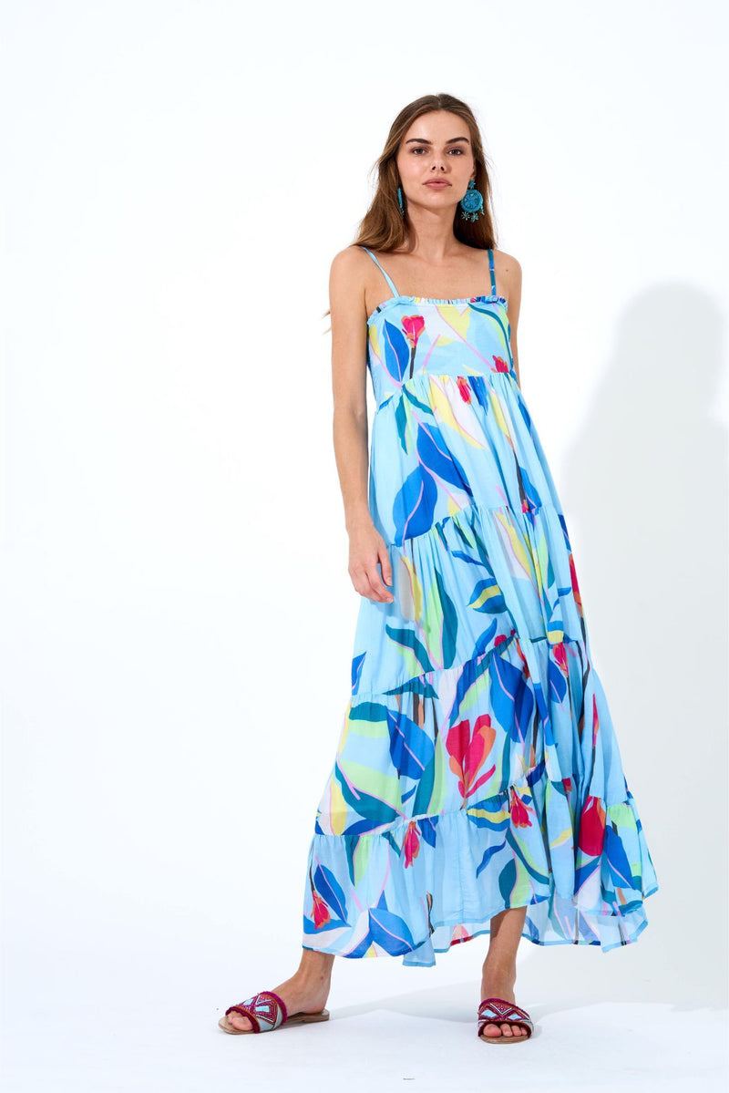 Smocked Back Maxi- Botanica Blue