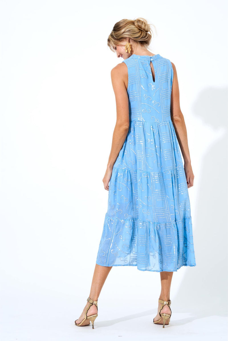 Ruffle Tiered Midi Dress- Byzantine Blue