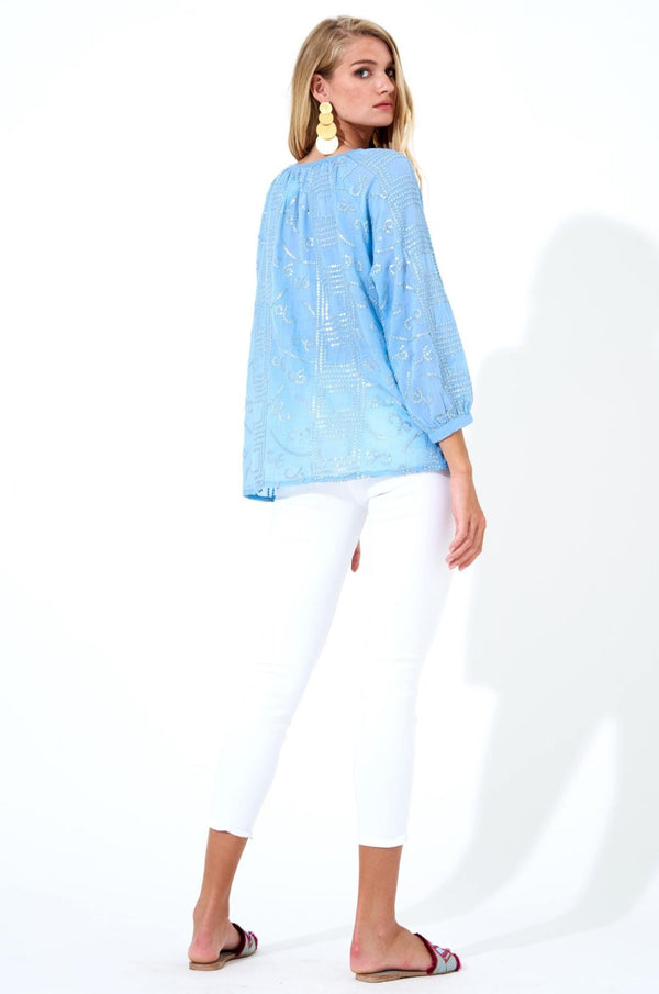 Tassel Top- Byzantine Blue