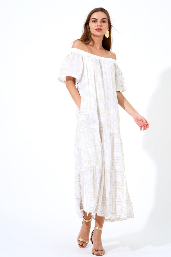 On Off Shoulder Pocket Midi Dress- Byzantine White