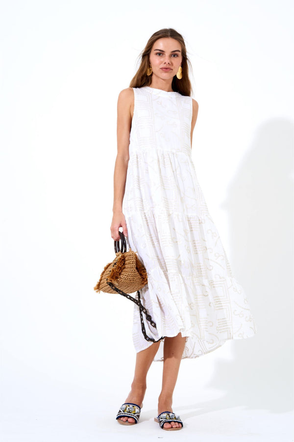 Ruffle Tiered Midi Dress- Byzantine White
