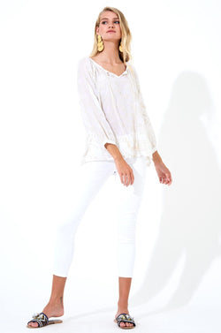 Tassel Top- Byzantine White