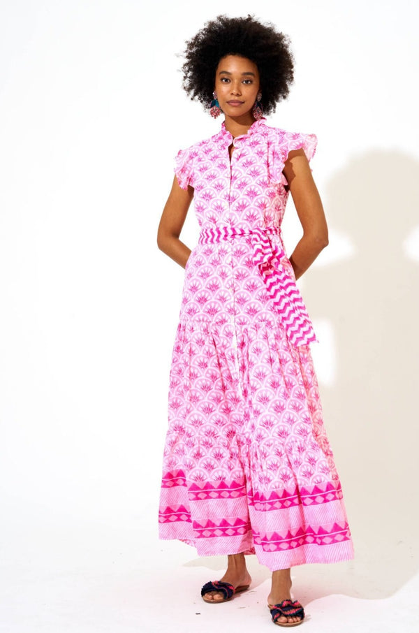 Ruffle Collar Button Maxi- Capella Hot Pink