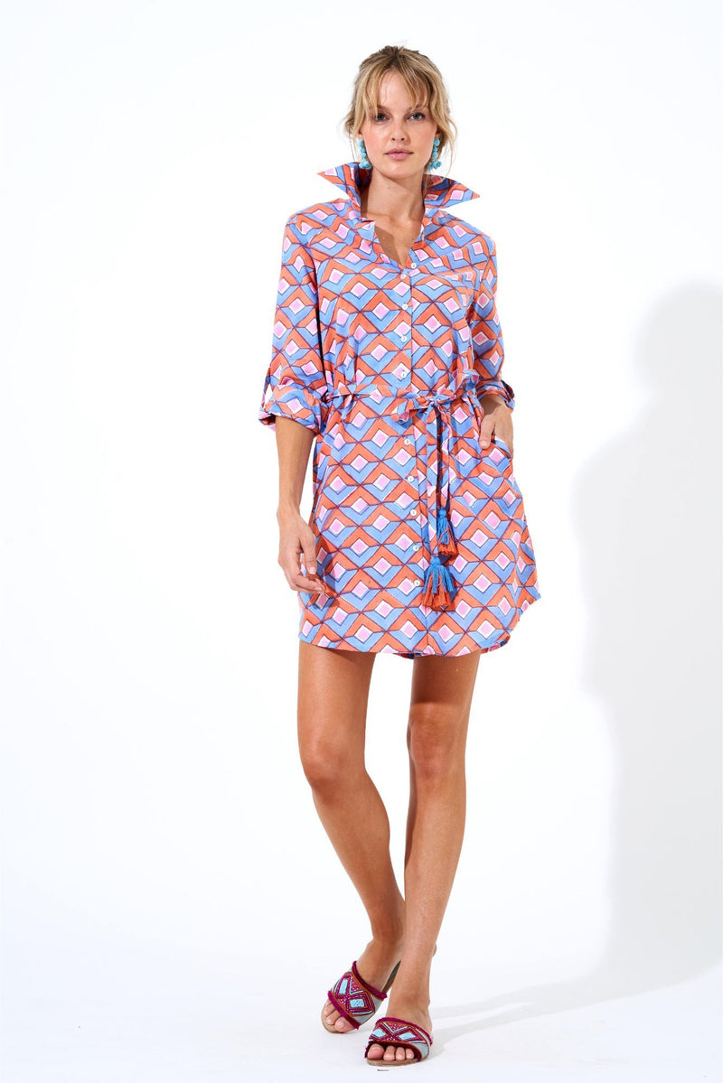 Shirt Dress- Deco Coral