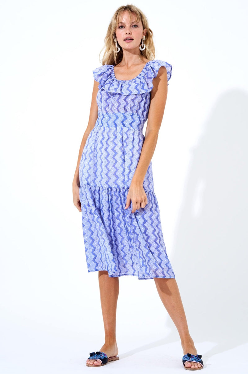 Ruffle Neck Midi Dress-Flora Periwinkle