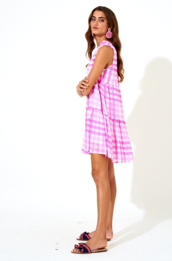 Button Neck Dress- Gingham Pink