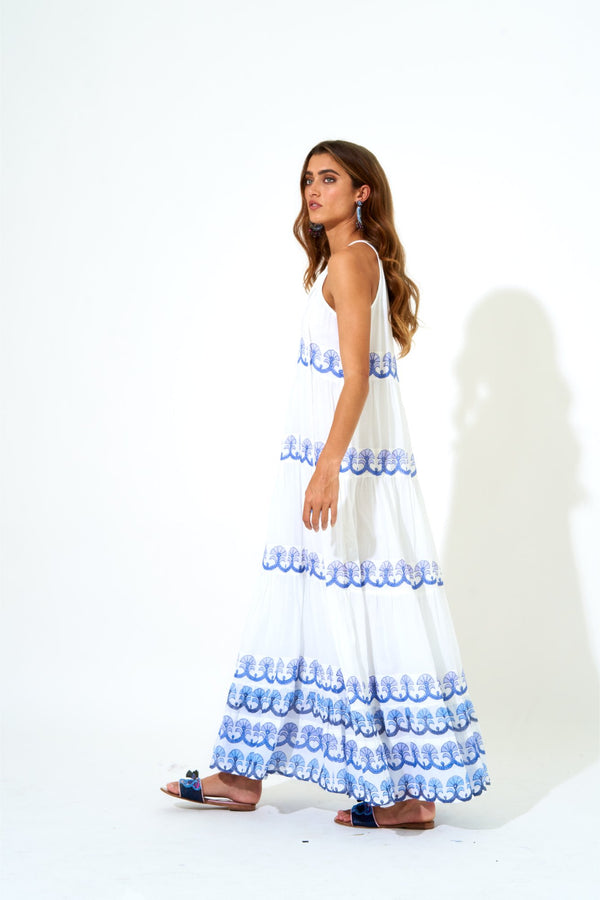 Long Tiered Tassel Dress- Holland Blue