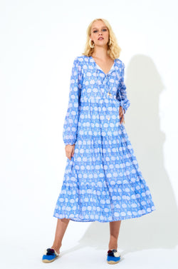 Long Sleeve Midi Dress- Kerachi Blue