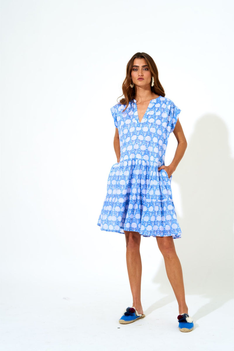 Roll Sleeve Dress- Kerachi Blue