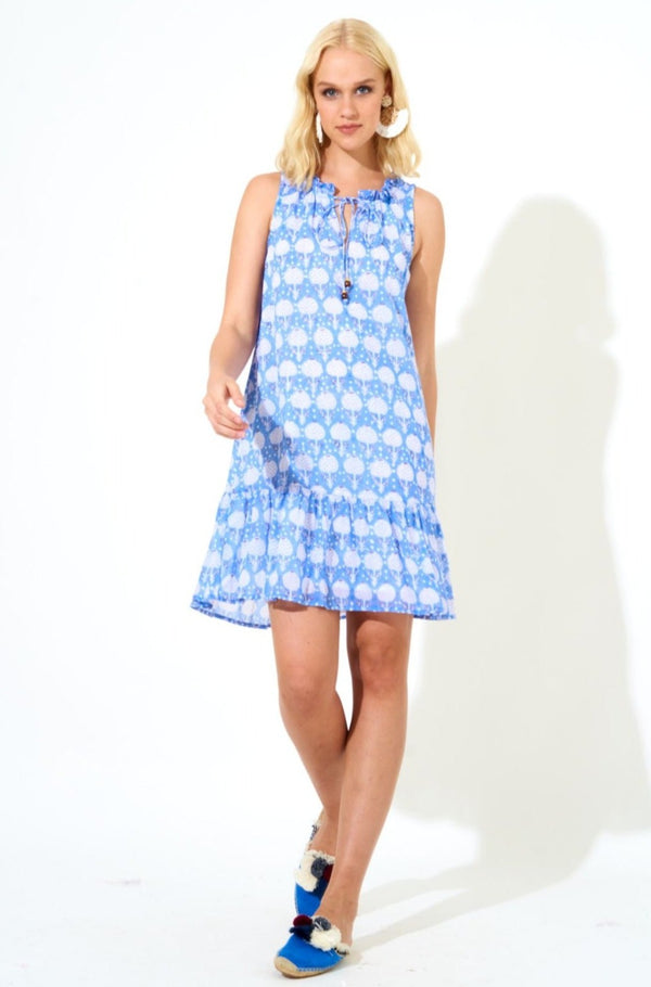 Ruffle Hem Dress- Kerachi French Blue
