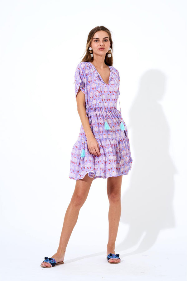Side Tie Tassel Dress- Kerala Lavender